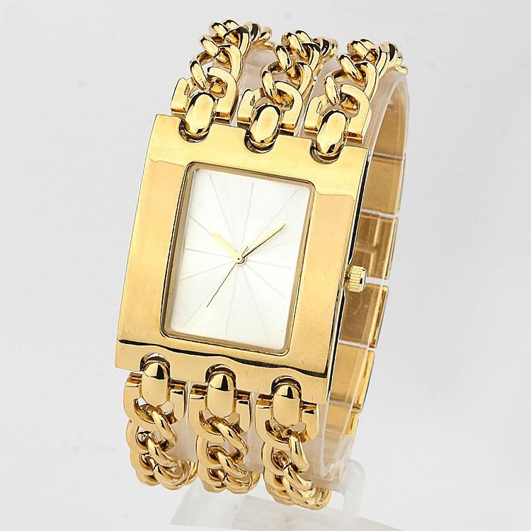 Наручные часы Three Chain Bracelet Women Dress Watches+Women rhinestone watches +Gold Silver Women's luxury brand watches