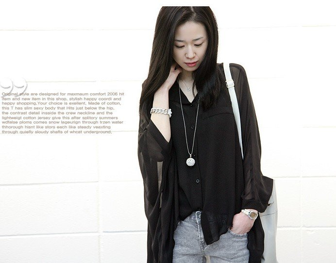 Free shipping new fashion women lady 2012 dress shirts long sleeve blouses Chiffon tops Batwing casual T shirts sexy clothes