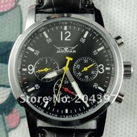 Jaragar classic design original watches men leather dive mechanical black dial mens sport wristwatch