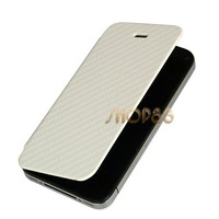 Чехол для для мобильных телефонов White Slim Flip PU Leather Case & Battery Back Cover Housing For iPhone 4S #1403