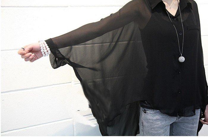 Free shipping new fashion women lady 2012 dress shirts long sleeve blouses Chiffon tops Batwing casual T shirts sexy clothes