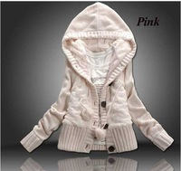 Promotional Free shipping 2012 new women's Korean winter thick hooded cardigan sweater coat (One size Gray Pink White)