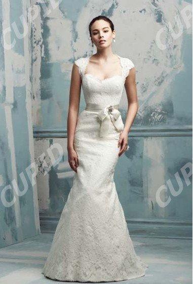 Modern Mermaid Sweetheart Neckline Cap Sleeve Embroidered Satin Wedding
