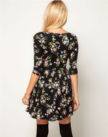 Женское платье WOMEN FLORAL V-NECK EMPIRE WAIST SLEEVE DRESS WF-4084
