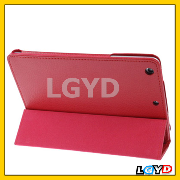 Novelty 3-fold Litchi Texture Flip Leather Case with Holder Function for iPad mini / mini 2 Retina (Red)