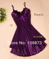 Женские ночные сорочки и Рубашки 2013 lace round sweet sexy Chiffon Gauze Faux Silk nightgowns women 10colors & Retail