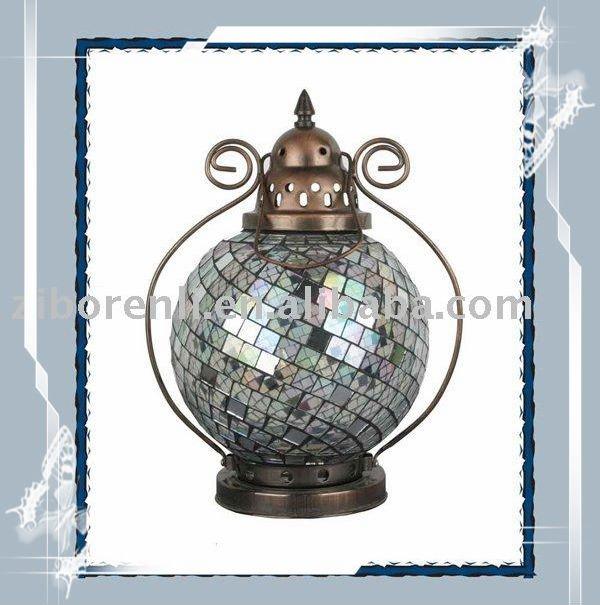 Silver Grey Glass Mosaic Candle Jar Metal Decorative Hanging Lanterns