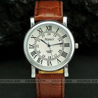 Наручные часы 2pcs Classic Round Dial Roman Numerals Leather Band Gentle Men Suit Cuff Watch, Q0358/Q0359