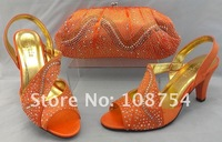 Туфли на высоком каблуке lady's shoes, Italy shoes, shoes with matching bags, handmade, with retail, SB120 orange size39-41