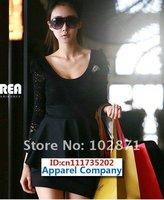 Женское платье 2013 dresses women dress long sleeve mini dress Elegnat Lace Black cotton blends Size