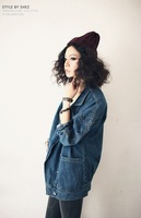 2014 new spring jackret Couture retro neutral all-match suit collar yards denim jacket jeans jacket