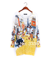 Женский пуловер autumn fashion and high quality women's print sweater long design sweater dress plus size loose basic sweater