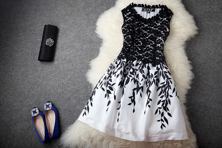 mulheres sem mangas vestido de renda barato imprimir mais mulheres do tamanho veste nova moda verão 2014 passarela vestido # 16173114 fotos Produto # 7
