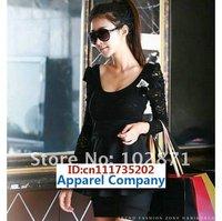 2013 dresses women dress long sleeve mini dress Elegnat Lace Black cotton blends Free Size
