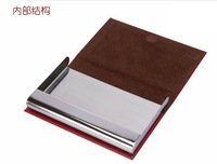 Кошелек Hot sale! High Quality Genuine Leather Stainless Steel Business Name Holder Wallet Pouch Purse Case