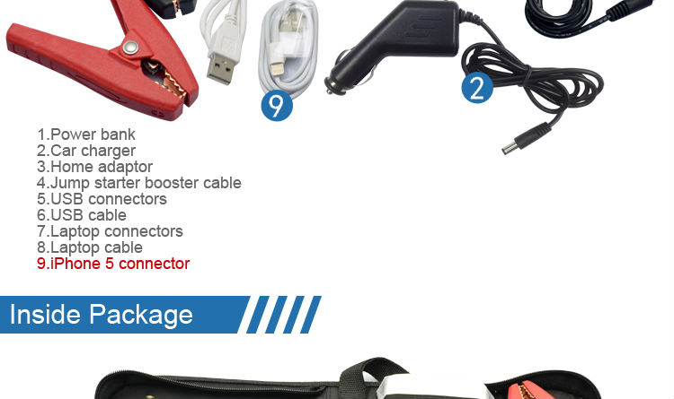 Hot sale mini jump starter/car battery charger with high quality