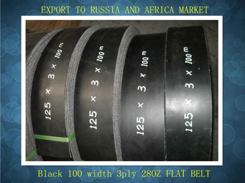 Black 100mm width 3 ply 28OZ flat belt1212