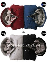 Promotional 2012 new men's plush thick warm overcoat winter coat fleece & cotton padded Jacket Men jackets S M L XL XXL