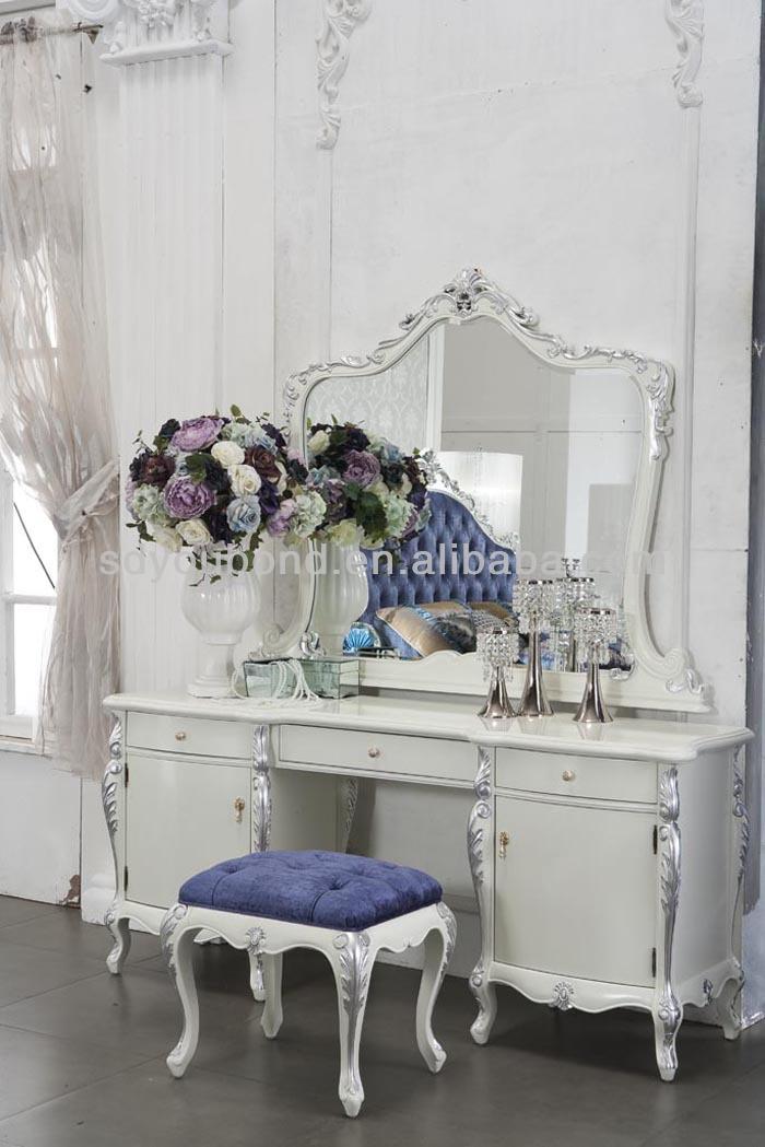 0036 Neoclassique blanc ensemble de chambre à coucher meubles, Royal