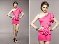 Вечернее платье Luxury A-line Lotus Leaf Sleeve One Shoulder Women Cotton Sexy Wrinkle Evening Dress Rose Red Party Dress