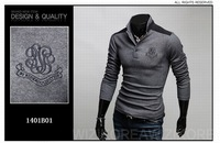 Мужская футболка men polo Shirts solid color Long-sleeve Slim Casual Shirts Cotton t-shirts US SIZE:XS, S, M, L 0018