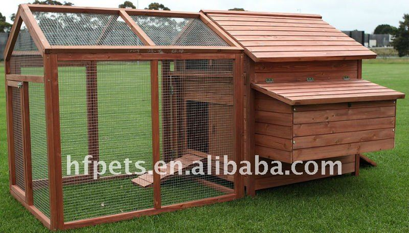 wooden chicken cage HF-CC1009 with nesting box and metal tray
