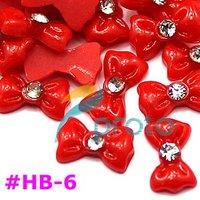 Freeshipping-Hot Sales Resin Bowknot with Rhinestone Nail Art Decoration Colors Bowknot 100pcs/bag wholesales SKU:D0097X