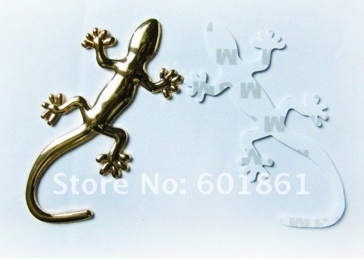 New! DIY Gecko Car Stickers 3D Stereo Pure Metal Car Accessories Personalized Auto Decoration Accessories Gold Silver 40pcs/lot