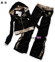 Женские толстовки и Кофты Fashion Leopard Black velvet leisure suit women M L XL