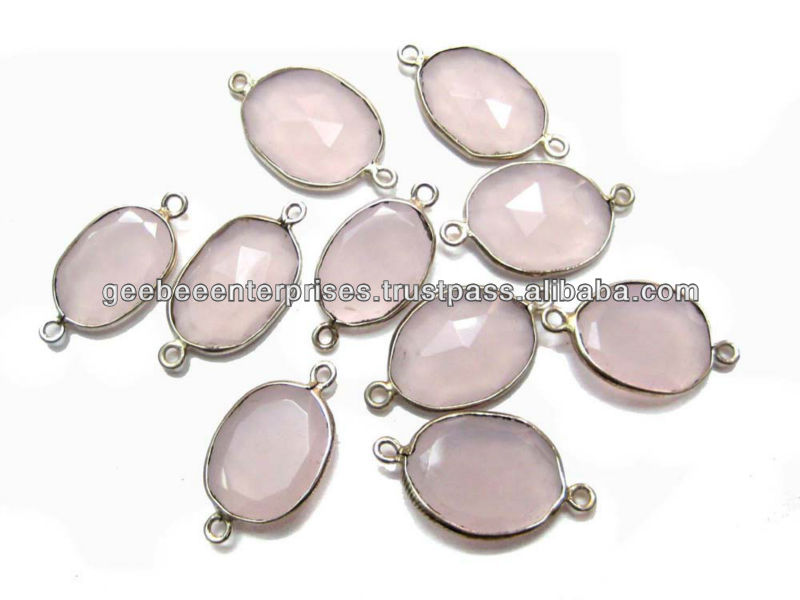 smoky quartz faceted gemstone connectors silver bezel two jump rings links wholesale supplies