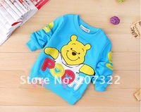Футболка для девочки Cheap spring&autumn baby T-shirts 4 colors infant Lovely pooh t shirt 610431Y