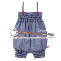 Free shipping baby girl blue dot print polka pants cotton suspender trousers kid rompers toddler girl bloomers rompers
