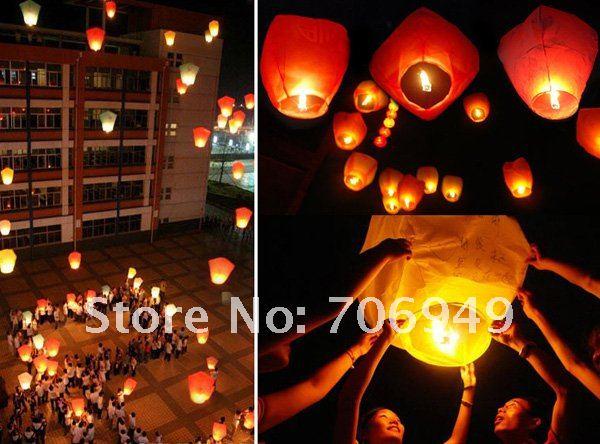 Free Shipping 20pcs Heart Sky Lanterns Wishing Lamp Полет Lanterns Sky Chinese Lanterns Birthday Wedding Party -- TOY13