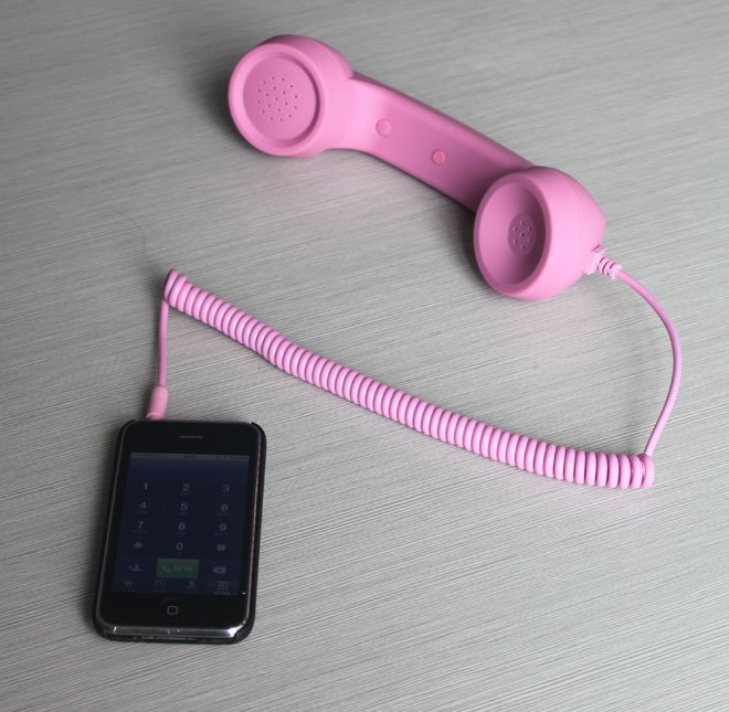 Free Shipping, Hot Sale! Rubber Painting, Radiation Proof, 3.5mm Jack, Pink Retro Phone Handset for iPhone
