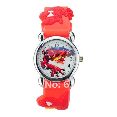 10Pcs/lot  Spider-man Design Round Dial 3D Silicone Band Quartz Movement Wrist Watch