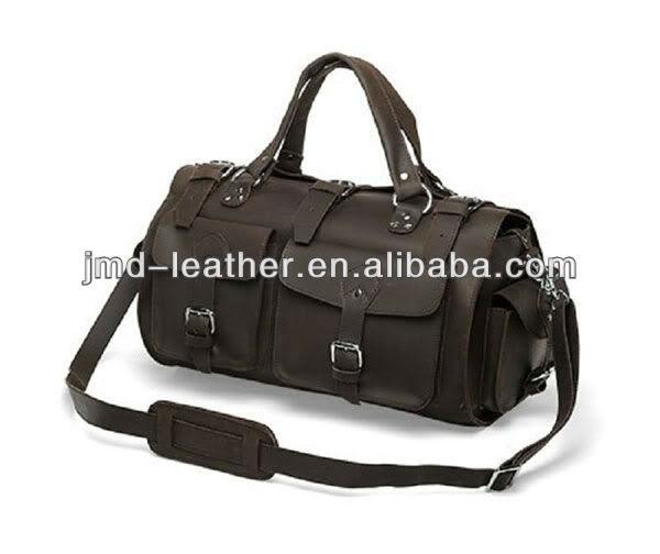 Crazy Horse Leather Men's Dark Brown Tote bag Camping bag Huge Travel Bag # 7094R