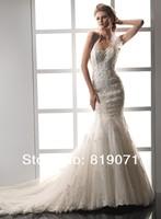 Свадебное платье 2013 New Style Elegant White Floor Length Mermaid Sweetheart Appliques Designer Wedding Dress