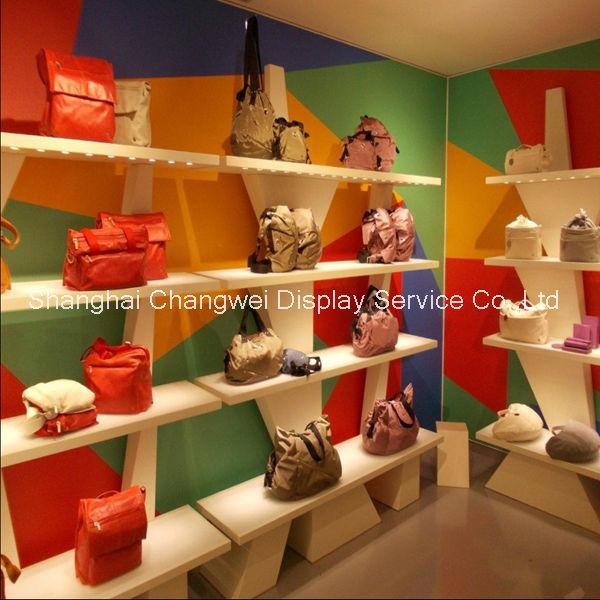 rak display toko tas: Tas fashion display toko rak tas ritel shopfitting dinding rak