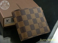 Free Shipping + Man Purse + Men Wallet + hot fashion designer brown purses gift box+ Bifold Purse letters Plaid wallet