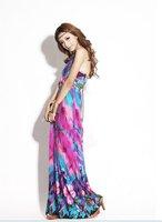 Женское платье Retail ] Fashion Bohemia Purple Color Halter Floral Summer Long Dress Maxi Dress SK-077
