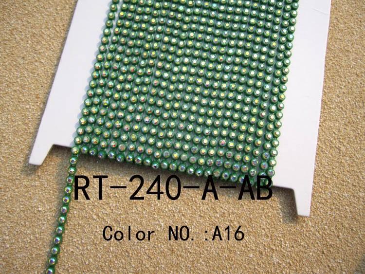A16 green color base rhinestone cup chain (2)