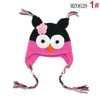 10pcs/lot Cartoon Designs 100%Cotton Handmade baby Owl hat Animal Styles 7 colors Crochet Beanie hat Kids Flower cap