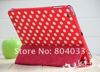 Polka Dot PU Leather Smart Case Wave Point Cover Stand Holder for iPad 2 / ipad 3, Oraginal package, Free Drop Shipping