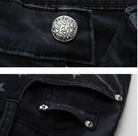 free shipping fashion casual jeans for men slim skinny jeans star print design jeans south korean style black 28-36  YJ428F78