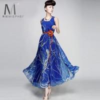 Женское платье Plus size ultra long chiffon long dress summer chiffon one-piece dress summer flower print bohemia expansion bottom full dress