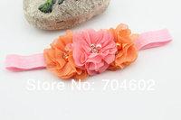 Детский аксессуар для волос New Product Baby Girls Hair Band Chiffon Pearl Flowers With Rhinestone Princess Headband 10sets/lot FD182