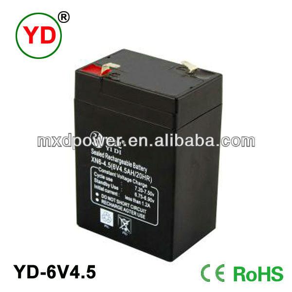 Lead acid rechargeable storage battery 6v3ah 6v4ah 6V4.5Ah