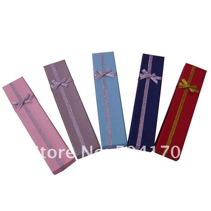 36pcs/lot 20 * 4 * 2,5 см синий ювелирные изделия ожерелье коробки с бантом подходят все марки ожерелья подарки