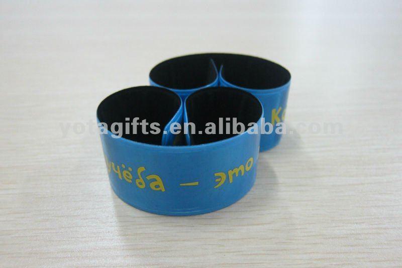 PVC reflective promotional slap bracelet