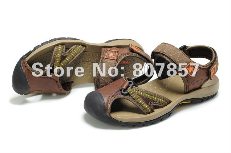 Euramerican Fashion Men Cow leather Ankle Wrap bag toe sandals,male out door summer leisure beach antiskid wading shoe,38-44